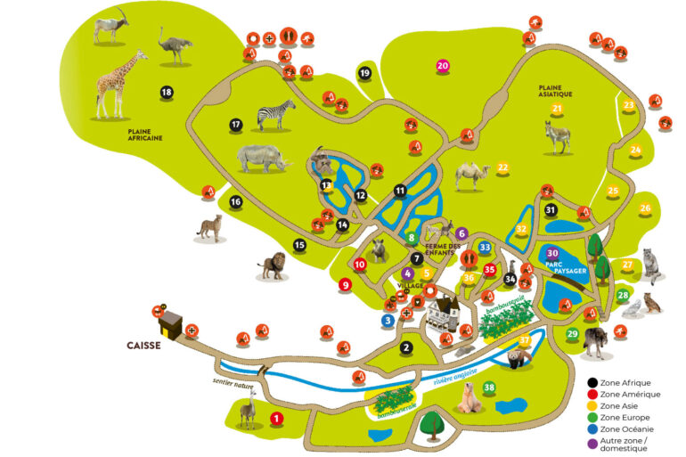 Plattegrond dierentuin Parc Zoo du Reynou