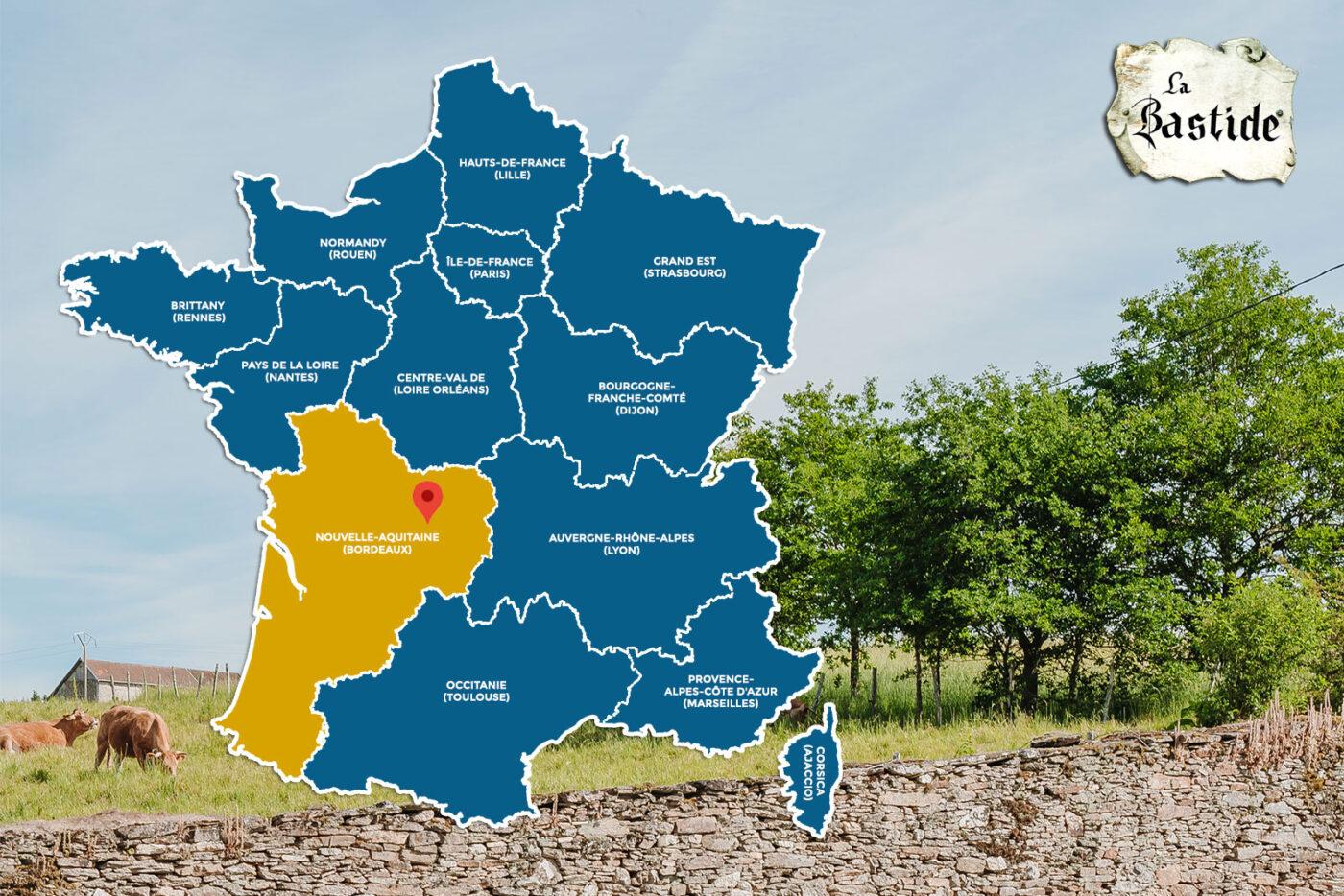 Vakantiedomein La-Bastide landkaart omgeving Nouvelle Aquitaine Limousin 13 regios Frankrijk