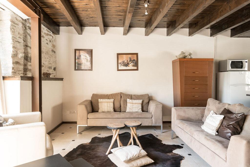 Vakantiehuis Bourgogne La-Bastide woonkamer gezellige zithoek met bankstellen