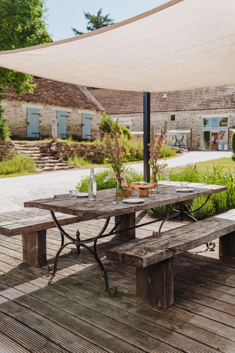Vakantiehuis Haute-Vienne La-Bastide terras met zonnedoek